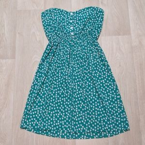 Strapless Sweetheart Sundress W/ Teal Tulip Print